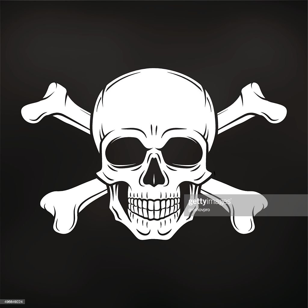 Pirate Jolly Roger with crossbones template. death t-shirt concept
