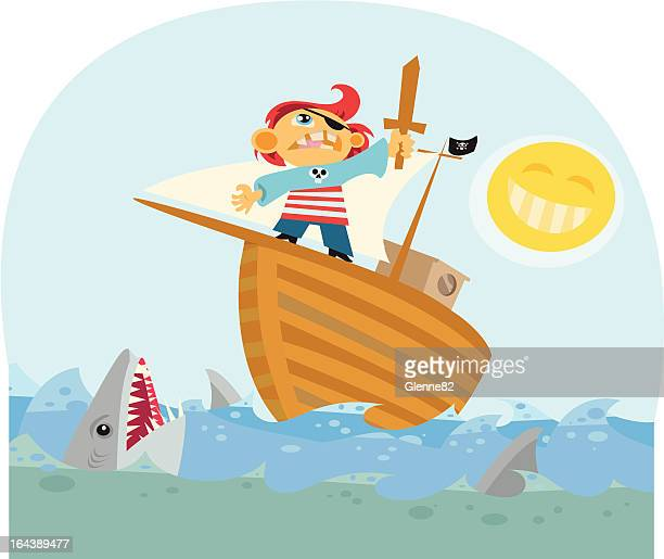 pirate kid - brigantine stock illustrations, clip art, cartoons, & icons