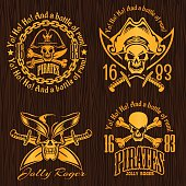 Pirate labels set - design for badges, logos and t