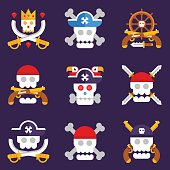 Pirate logos with different skulls and bones