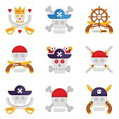 Pirate logos with different skulls