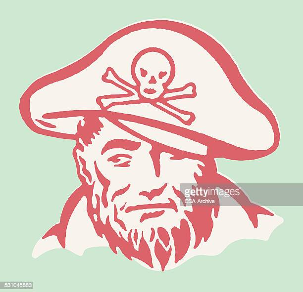 pirate looking to the side - pirate criminal stock illustrations