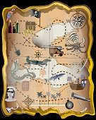 Pirate Map Elements Vector Kit -
