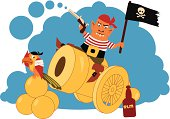 Pirate on a cannon