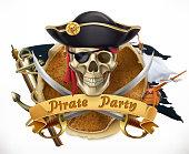 Pirate party. 3d vector emblem