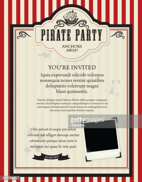 pirate party invitation design template with pirate ship - pirate boat stock illustrations, clip art, cartoons, & icons
