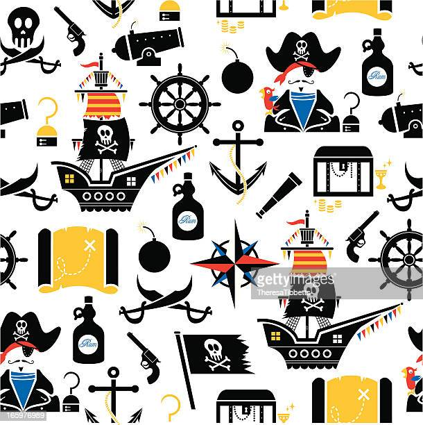 pirate pattern - pirate boat stock illustrations, clip art, cartoons, & icons