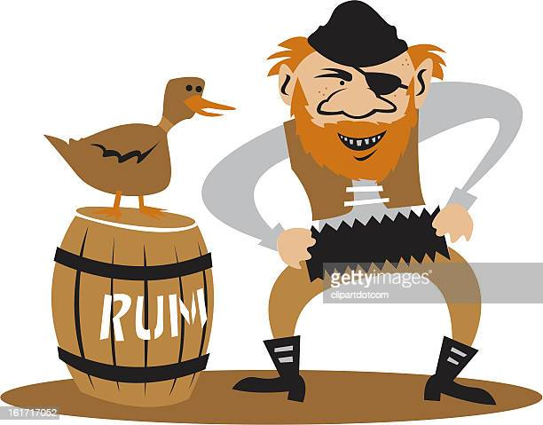 pirate playing an accordion - rum stock illustrations, clip art, cartoons, & icons