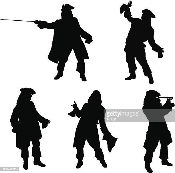 Pirate Poses Vector Silhouette