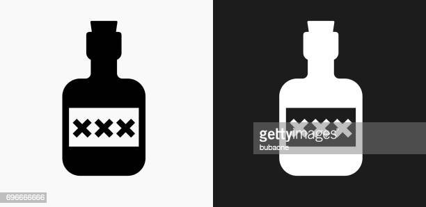 pirate rum icon on black and white vector backgrounds - rum stock illustrations, clip art, cartoons, & icons
