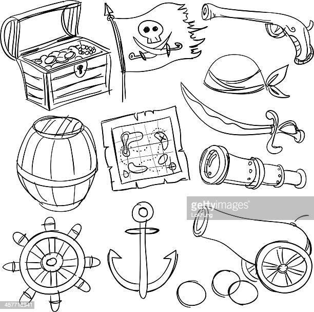 Conjunto de piratas em preto e branco