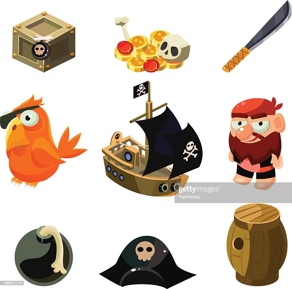 Pirate set. Vector illustration