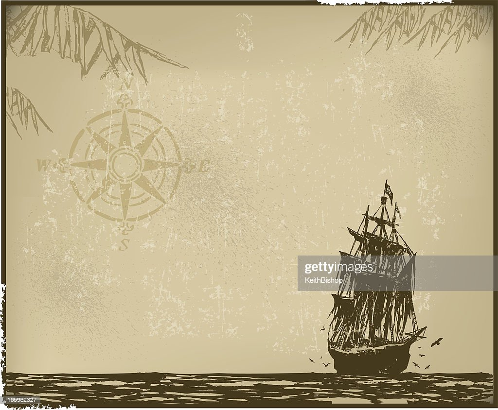 Pirate Ship Background with Compass : stock illustration