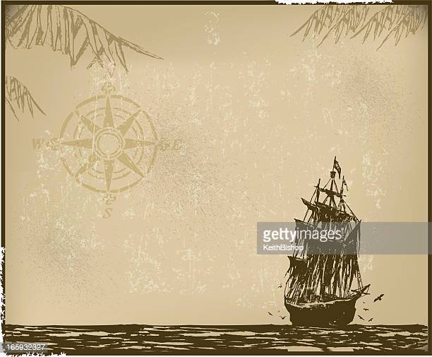 pirate ship background with compass - brigantine stock illustrations, clip art, cartoons, & icons