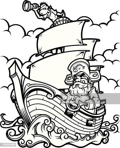 illustrations, cliparts, dessins animés et icônes de bateau de pirates en noir et blanc - voilier noir et blanc