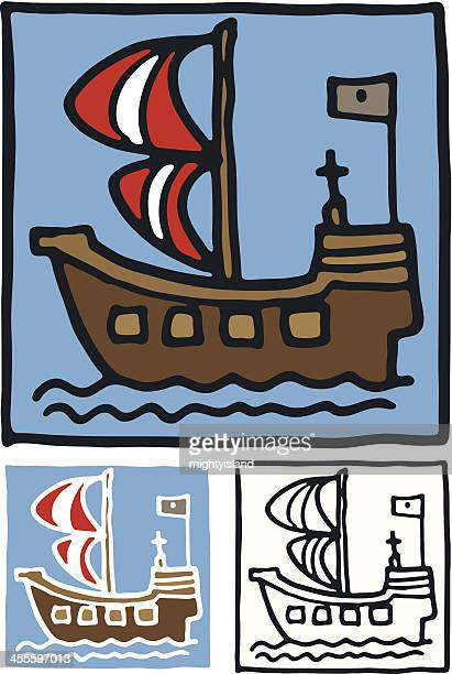pirate ship block icon - brigantine stock illustrations, clip art, cartoons, & icons
