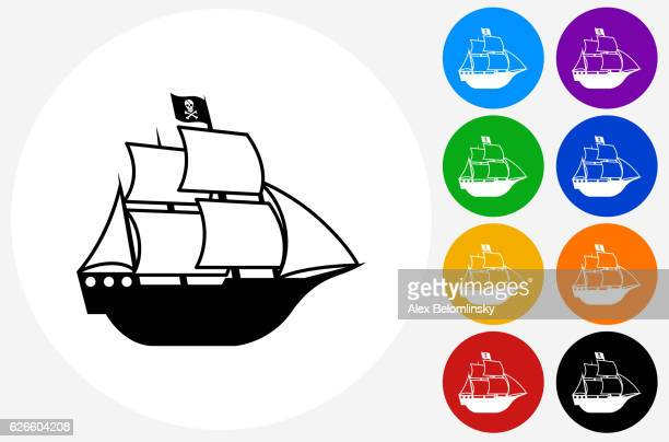 pirate ship icon on flat color circle buttons - brigantine stock illustrations, clip art, cartoons, & icons