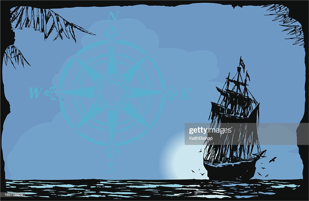 Pirate Ship in Moonlight Background : stock illustration