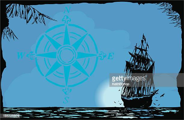 pirate ship in moonlight background - brigantine stock illustrations, clip art, cartoons, & icons