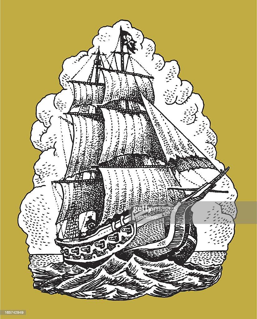 Pirate Ship Nautical Vessel : stock illustration