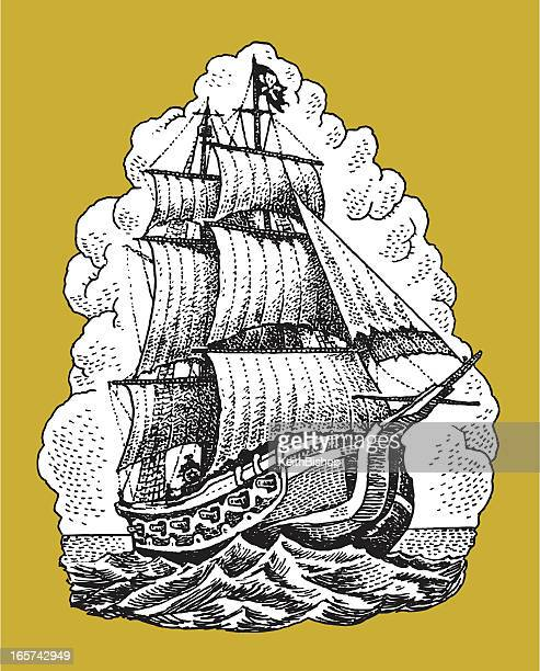 pirate ship nautical vessel - brigantine stock illustrations, clip art, cartoons, & icons