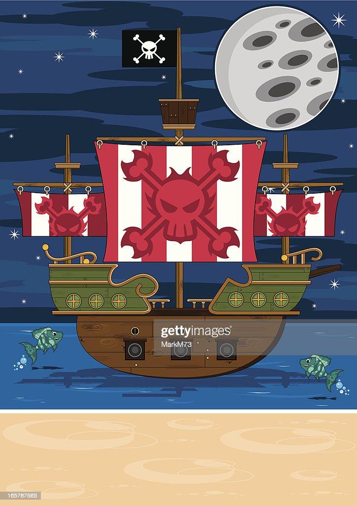 Pirate Ship Scene : stock illustration