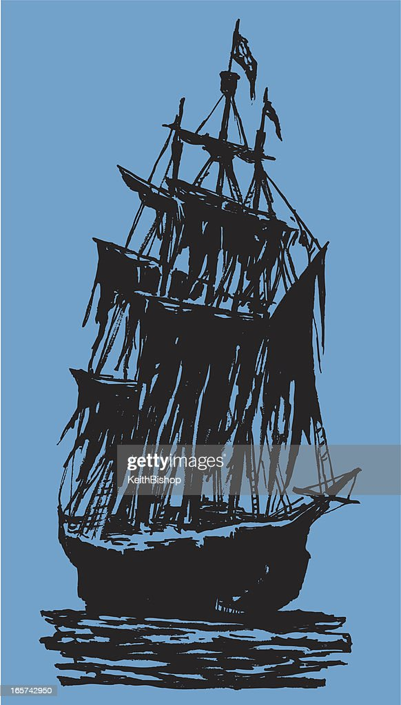 Pirate Ship Spooky Silhouette : stock illustration