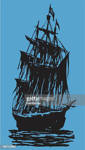 pirate ship spooky silhouette - brigantine stock illustrations, clip art, cartoons, & icons