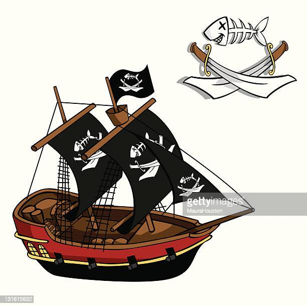 pirate ship - brigantine stock illustrations, clip art, cartoons, & icons