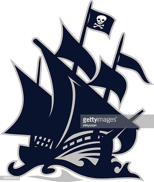 pirate ship - pirate boat stock illustrations, clip art, cartoons, & icons