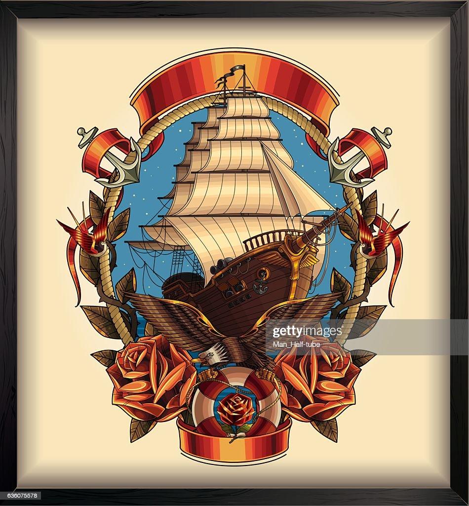 Pirate ship : stock illustration