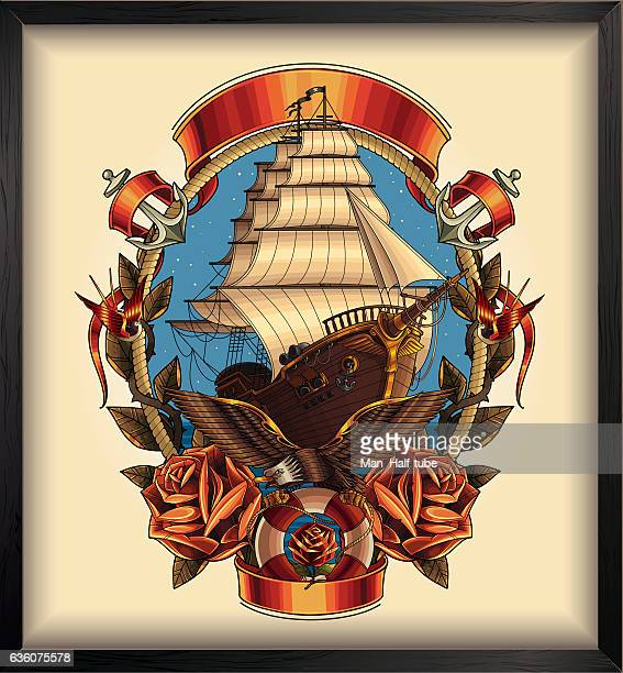 pirate ship - brigantine stock illustrations, clip art, cartoons, & icons