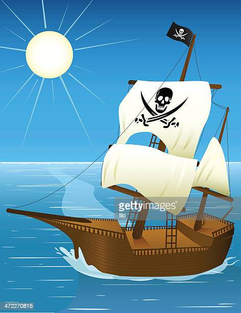 pirate ship [vector] - brigantine stock illustrations, clip art, cartoons, & icons