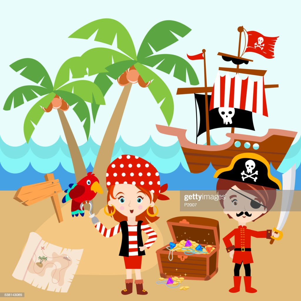 Pirate Ship with a boy, a girl and a red parrot