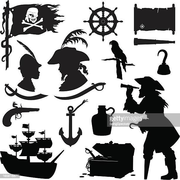 pirate silhouettes - rum stock illustrations, clip art, cartoons, & icons