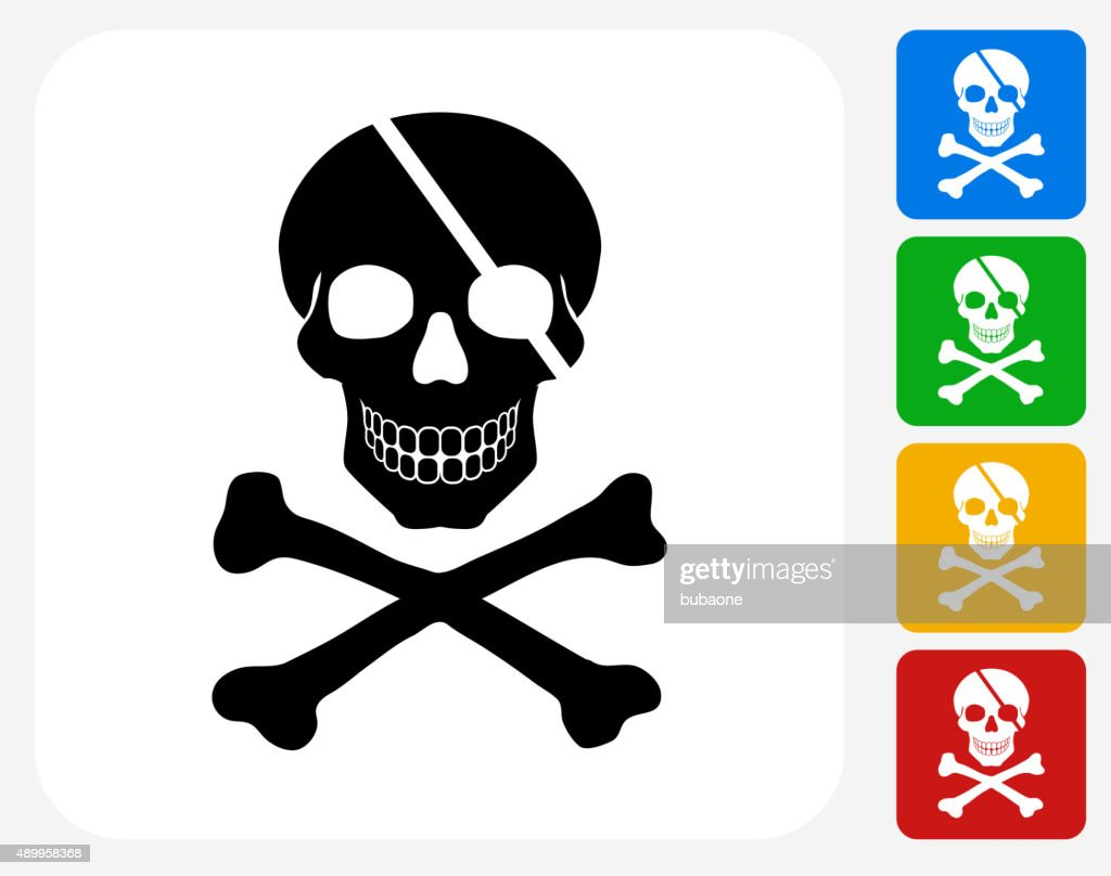 Pirate Skull and Bones Icon Flat Graphic Design : stock illustration