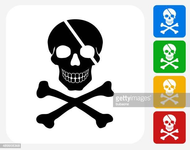 Pirate Skull and Bones Icon Flat Graphic Design