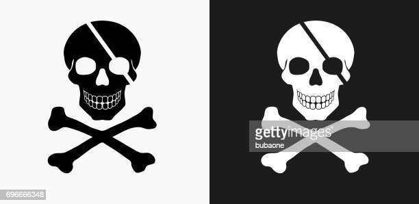 Pirate Skull and Bones Icon on Black and White Vector Backgrounds