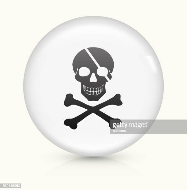 Pirate Skull and Bones icon on white round vector button