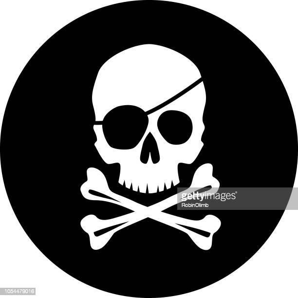 pirate skull icon - pirate criminal stock illustrations