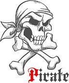 Pirate skull in bandana with crossbones sketch