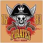 Pirate Skull in black hat with Cross Swords