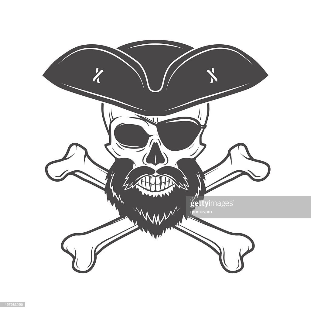 Pirate skull in cocked hat with beard, eye patch and