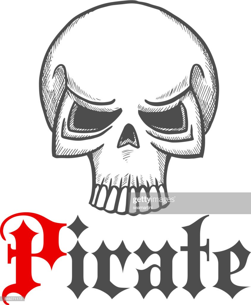 Pirate skull or jolly roger symbol in sketch style