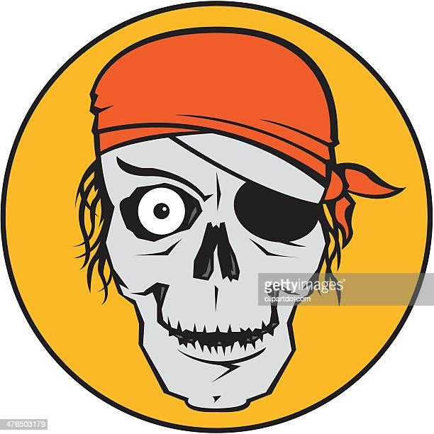 pirate skull - bandana stock illustrations