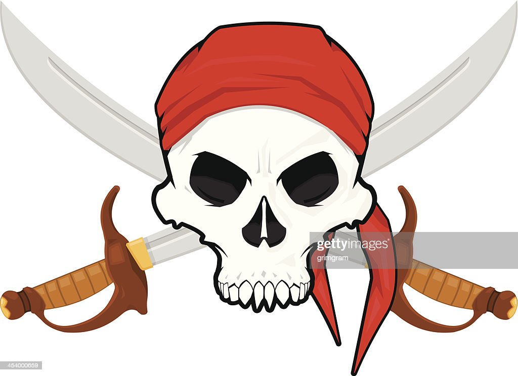 Pirate Skull with a Crossed Cutlas