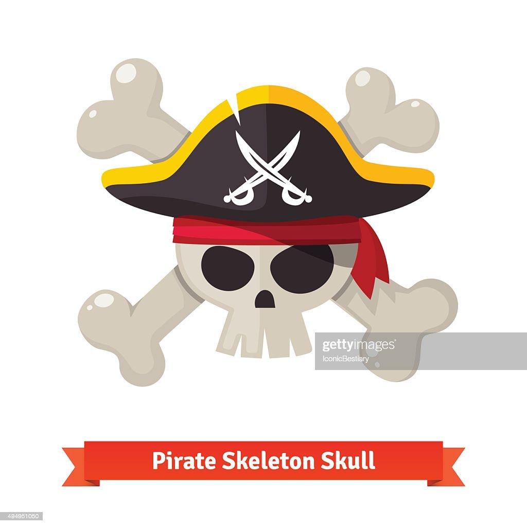 Pirate skull with crossed bones in black hat