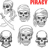 Pirate skulls and crossbones sketch icons