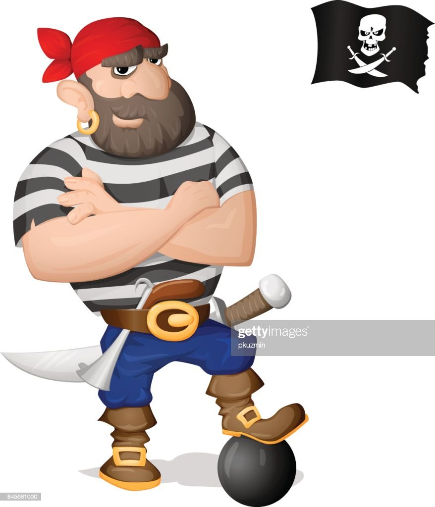 A pirate standing with cannon core