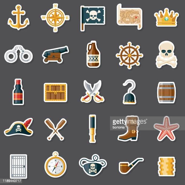 pirate sticker set - pirate criminal stock illustrations